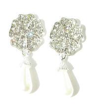 Silver White Pearl Diamante Earrings Drop Bridal Wedding Rose Flower Vintage 459