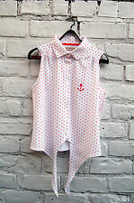 Bravesoul White and Pink Polka Dot Sleeveless Shirt with Anchor Motif Size M