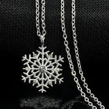 Silver Frozen Snowflake Crystal Necklace Pendant Chain Christmas Jewelry Gift