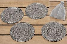 Untersetzer rund Metall silber 10 cm 4er-Set (362640) Glasuntersetzer