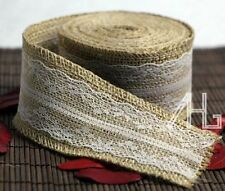 6m Natural Hessian Ribbon +lace Trim Edge Vintage Jute Burlap Wedding DIY