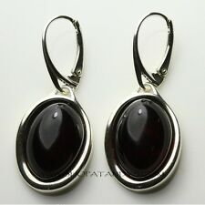 MAGNIFICENT GENUINE CHERRY BALTIC AMBER 925 STERLING SILVER DANGLE EARRINGS