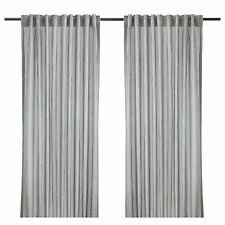 Pair of IKEA GULSPORRE Grey & White Pinstriped Lounge Curtains (300cm Long)