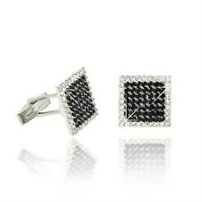 925 Sterling Silver Black CZ Square Men's Cufflinks