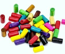 PACK OF 80 WOODEN TUBE BEADS - MIXED BRIGHT COLOURS - 12 x 6mm...........B123 *