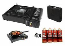 PORTABLE GAS COOKER STOVE + 4 BUTANE BOTTLES CAMPING BBQ PARTY BURNER OUTDOOR