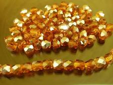 70 pce Half Pearl Luster Brown Electroplate Faceted Oval Glass Beads 4mm
