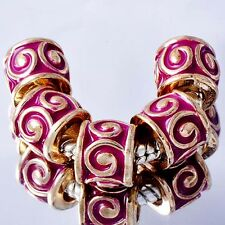 5pcs Yellow Gold Plated Rose Pink Enamel European Charm Beads For Bracelet