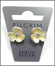 NEW PILGRIM EARRINGS WOMEN'S JEWELRY SWAROVSKI CRYSTALS GOLD FLOWERS SILVER SALE