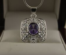 "925 Stamped Sterling Silver Amethyst Square Pendant with 18"" Chain Necklace -22"