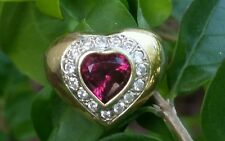 Vintage 14k Yellow Gold Pink Tourmaline Diamond Heart Band Ring Womens 8.7 gm