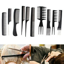 10Pcs Black Pro Salon Hair Styling Hairdressing Plastic Barbers Brush Combs Set
