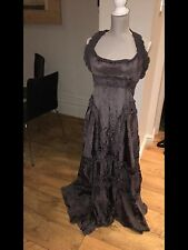 Stunning All Saints Long Evening Dress Silver Grey Halter Neck Ruffles Uk10