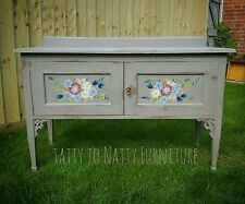 VINTAGE SIDEBOARD cabinet CUPBOARD grey HAND PAINTED FLORAL folk SHABBY CHIC