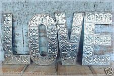 """LARGE ARTY ALUMINUM & WOOD  LETTERS """"LOVE"""" WALL HANGING GIFT WEDDING HOME 15 CM"""