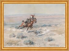 Roping a Wolf Charles M. Russell Cowboy Wolf einfangen Reiter Tiere B A3 01112