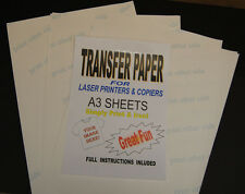 5x A3 Laser & Copier T Shirt Thermal Transfer Paper Sheets For Light Fabrics