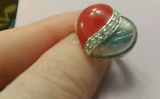 Sterling Silver Heart Shaped Statement Ring With Red Enamel & Zicron Stones 925