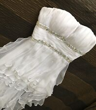 Size 8 Wedding Dress GASP LA FEMME White Designer Formal Party corset NEW