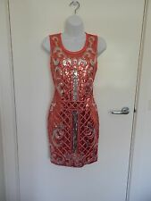 Ladies New Coral Silver Sequin Sleeveless Bodycon Gorgeous Party Dress size S
