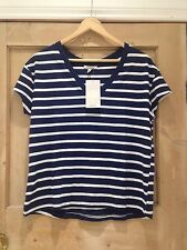 ZARA top STRIPE size M 10 12 blue White NAUTICAL V NECK BNWT Relaxed Fit