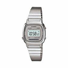 LA670WA-7D Silver White Casio Stainless Steel Band Watch Lady Stopwatch 670WA
