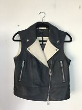 =ROCKSTAR= BELSTAFF Black Beige Motocycle Biker Leather Vest Jacket Coat US6