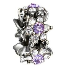 Light Purple Cz Forget Me Not Spacer Charm For Bracelets Silver Plated
