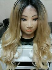 Human Hair Blend, wig Ombré, Blonde, Long, Lace Front dark roots