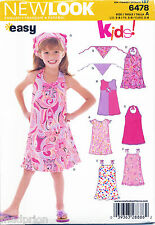 NEW LOOK SEWING PATTERN 6478 GIRLS SZ 3-8 EASY A-LINE DRESS W/ HALTER OR STRAPS