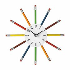 Funky Wall Clock Pencil Multi Colour Kids Nursery Bedroom Home Office Gift New