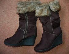 New Sz 6 Black Wedge Faux Suede & Fur Cuff Boots Shoes Zip Side