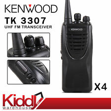 4 x Kenwood TK-3307 16CH UHF Rechargeable 2 Way Radio Walkie Talkie Transceiver