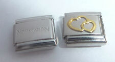 DOUBLE HEARTS 9mm Italian Charm + 1x Genuine Nomination Classic Link GOLD LOVE