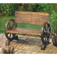 WAGON WHEEL BENCH RUSTIC COUNTRY WESTERN GARDEN PATIO PORCH NEW~12690