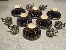6 Sets COBALT Crown Staffordshire Demitasse Coffee Cans STERLING SILVER HOLDERS