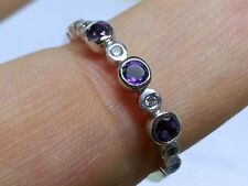 R159 Genuine 9ct White Gold NATURAL Amethyst Diamond Eternity Ring Trilogy sizeM