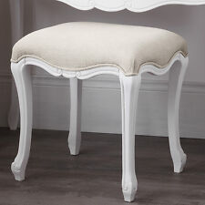 JULIETTE Shabby Chic White Upholstered Stool,French stool with cushion,ASSEMBLED