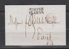 Vorphilatelie Brief von 1842 Turin nach Paris
