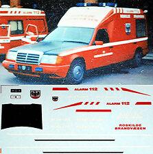 Rosklide Brandvaesen MB W124 Binz Ambulance Sweden 1:87 Decal Abziehbild
