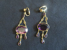 Estate Sale - Vintage Amethyst  Drop Earrings -  14K and 18k Yellow Gold