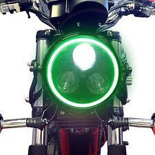 Schwarz Metall Motorrad LED Scheinwerfer & Grün Halogen Ring Passt Suzuki Bandit