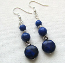 Dark Blue Howlite Gemstone Beaded Drop/Dangle PIERCED Earrings Jellybean