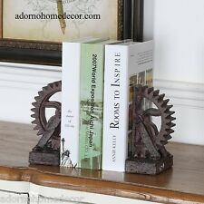 Industrial Gear Bookends Metal Look Rustic Antique SteamPunk Chic Decor Set of 2