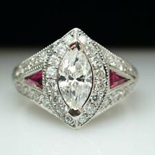 3.01CT MARQUISE CUT SIDE PINK SAPPHIRE ENGAGEMENT RING IN 925S STERLING SILVER