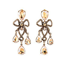 ANTHROPOLOGIE BEAUTIFUL CHAMPAGNE GLASS STONES GOLD BOW DROP DANGLE EARRINGS NEW