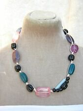 """22"""" Pink purple black multi glass bead string cord Necklace Womens Gift Arty new"""