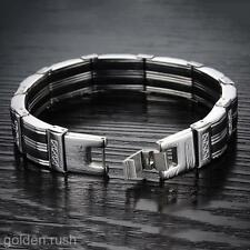 Fashion Men's Stainless Steel Black Silicone Chain Link Bracelet Wristband 8.66""