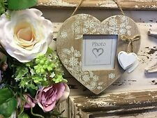 Wooden Heart Picture Photo Frame Lace Effect Vintage Chic Hanging Shabby