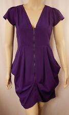 City Chic Purple Cap Sleeve Pleat Zip Front Tunic Top Plus Size XS 14 BNWOT C822